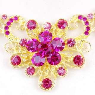 Necklace Earrings Set Flower Plume Theme Golden Czech Rhinestone
