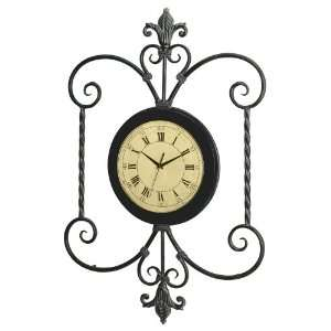 Antique Face Framed Wall Clock with Iron Tracery Home