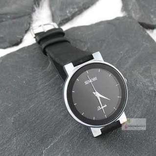 Men Black Dial Leather Simple Style Quartz Wrist Watch