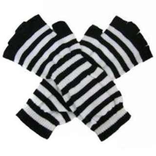 Black & White Stripe Long Arm Warmer Half Finger Gloves Clothing