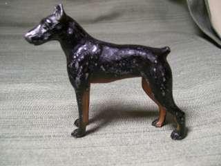 Antique Solid Lead Doberman Pinscher Dog Figurine Paperweight Toy