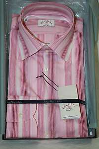 Delsiena ITALY Mens Pink Striped Dress Shirt New in Box SKU 28