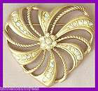 massive gold rhinestone vtg heart valentines day classi  or