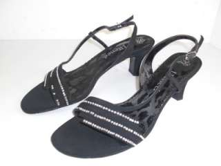 Renee Shona Black Satin Rhinestone Sandals Shoes 8.5