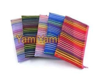 Lines Nylon Cosmetic Folding Makeup Wash Bag Wallet Case Travel
