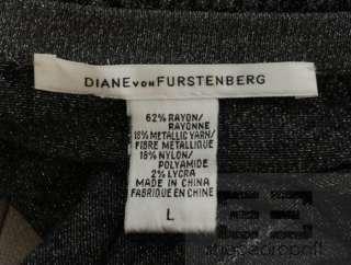 Von Furstenberg Grey & Black Metallic Animal Print Wrap Dress Sz Large