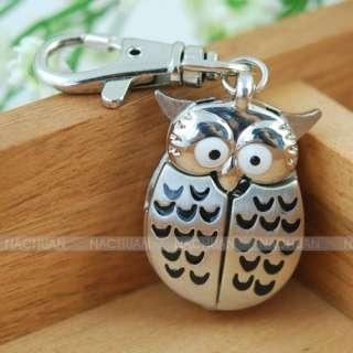 SILVER OWL KEY RING CHAIN PENDANT POCKET QUARTZ WATCH GIFT