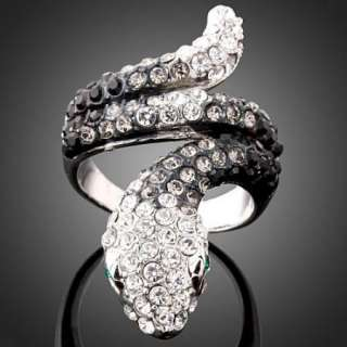 ARINNA Cute Snake Swarovski Crystal White Gold GP Ring