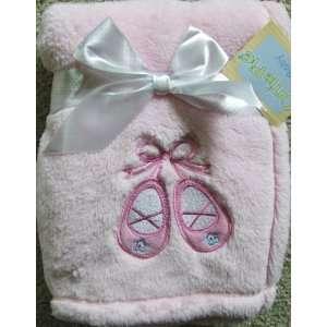 Cutie Pie Baby Girl Pink Blanket Ballet Slippers Applique
