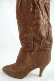 Nine West Womens Cognac Brown Caramel Slouch Boots Made in Brazil 8.5