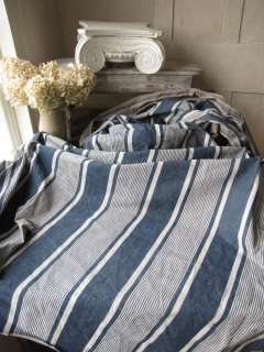 Vintage French TICKING fabric material Navy blue 4 YDS distressed