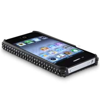 CRYSTAL Bling Rhinestone Black Hard Case Cover For iPhone 4 4S