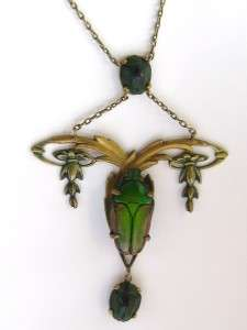 AMAZING Art NOUVEAU EGYPTIAN Real Large SCARAB Beetle NECKLACE