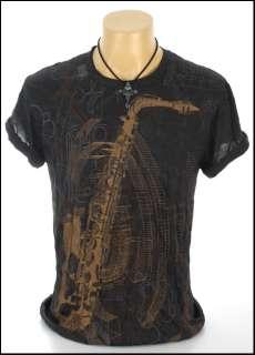 New Indie Rock Saxophone Black Non Iron T Shirt Sz S L