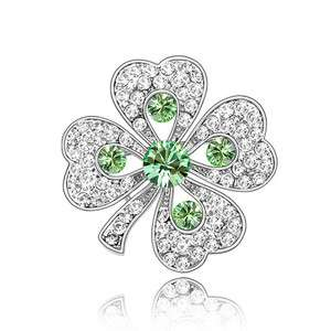 Genuine Crystal Green Four Leaves Clover Platinum Plated Brooch