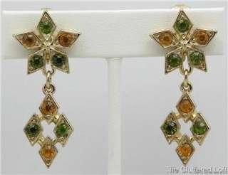 Sarah Coventry CANADA STAR Rhinestone Brooch & Dangle Clip Earrings