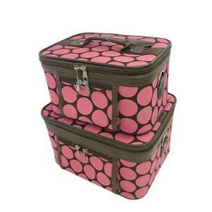 Toiletry 2 Piece Luggage Set Pink Brown Large Retro Polka Dots Beauty