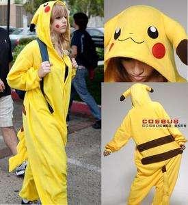 Japan Anime Pokemon Pikachu Cosplay Costume KIGURUMI Pajamas Hollywood