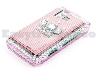 Crystal Bling Case Cover for LG VX9700 Dare Pink Crown