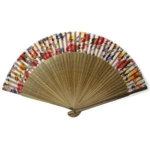Floral Pattern Bamboo Wood Oriental Silk Folding Fan