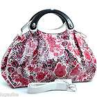 New Dasein leopard floral print Satchel Bag Handbag Purse White/Black
