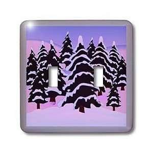 Florene Trees   Snow Covered Pine Trees On Violet   Light