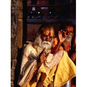 Portrait of Two Sadhus Making Hand Signals in Taumadhi