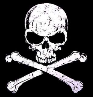 PIRATE CARIBBEAN SKULL CROSSED BONES DEATH T SHIRT WS28
