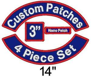 Custom Embroidered Patch Set   Rockers Name MC Square   14 Motorcycle