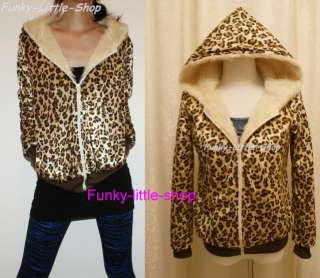 Leopard print faux fur jacket hoodie punk rock emo J106