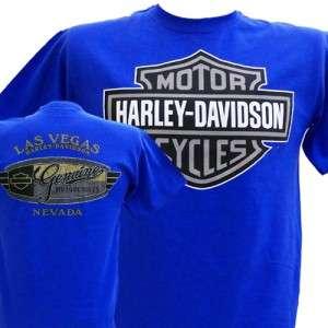 Davidson Las Vegas Dealer Tee T Shirt Bar & Shield BLUE XL #RKS