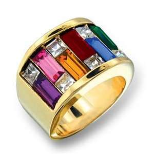 Womens Cluster Multicolor Swarovski Crystal Gold Tone Ring, Size 5