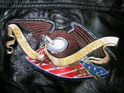 Mens BLACK Leather USA AMERICA FLAG & EAGLE Motorcycle Biker BOMBER