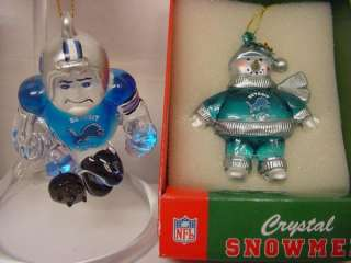 DIFFERENT DETROIT LIONS NFL FOOTBALL CRYSTAL CHRISTMAS ORNAMENTS
