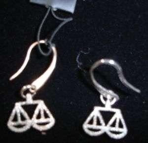 ARMANI SILVER DIAMOND CUT ZODIAC LIBRA EARRINGS