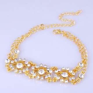 6p 20+8CM Rhomb Rhinestone Crystal Clear Golden Ladies Bracelet/Bangle