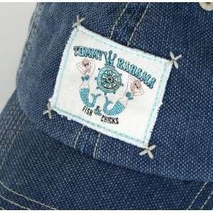 Tommy Bahama Mens Blue Denim Cap Hat Fish & Chicks Sports
