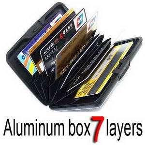 7pockets Aluminum ID Holder Credit Card Wallet RFID block color Black
