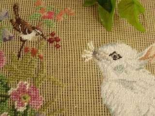 18x18 Vtg PREWORKED Needlepoint Canvas  Bunny Rabbit With Bird Pink