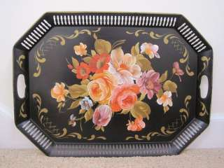 White Hand Painted Pastel Roses Large Vintage Black Tole Tray