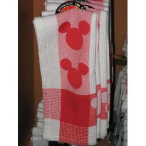 Disney Mickey Mouse Body Parts Red Kitchen Dish Towel