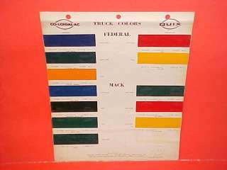 1946 1956 FEDERAL MACK REO WHITE TRUCK PAINT CHIPS COLOR CHART