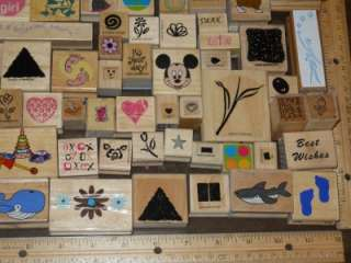 HUGE LOT *** 100+ ASSORTED WOOD MOUNTED RUBBER STAMPS (lot A)