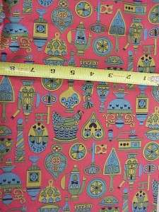 Vintage 50s 60s MOD RED Print Cotton FABRIC ~Kitchen Fs