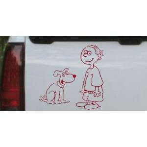 Red 8in X 8.0in    Child With Dog Stick Family Car Window Wall Laptop