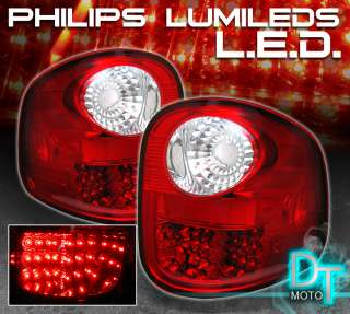 97 03 FORD F150 FLARESIDE RED CLEAR LED REAR TAIL LIGHT