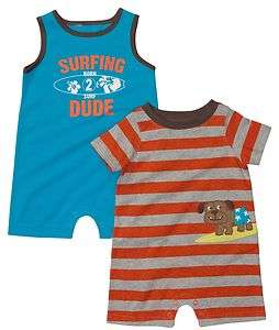 Carters SURFING Born 2 Surf DUDE Puppy DOG Baby Boys ROMPERS 2 Pack