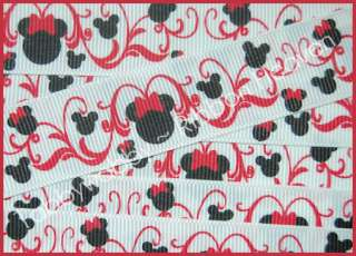 Red Mouse Head Scrolls Valentines Day Grosgrain Ribbon TWRH   5