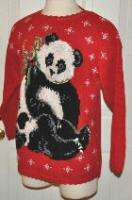 WOMENS TIARA uGLY RED PANDA BEAR CHRISTMAS SWEATER SZ M