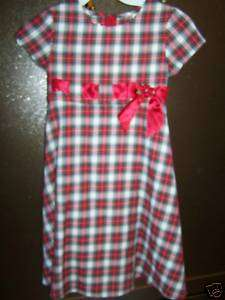 Bonnie Jean Christmas Holiday Dress Red Green Plaid Short Sleeves